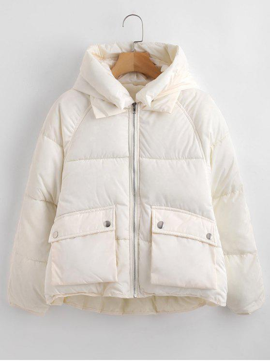 fancy Pockets Hooded Quilted Jacket - WHITE L