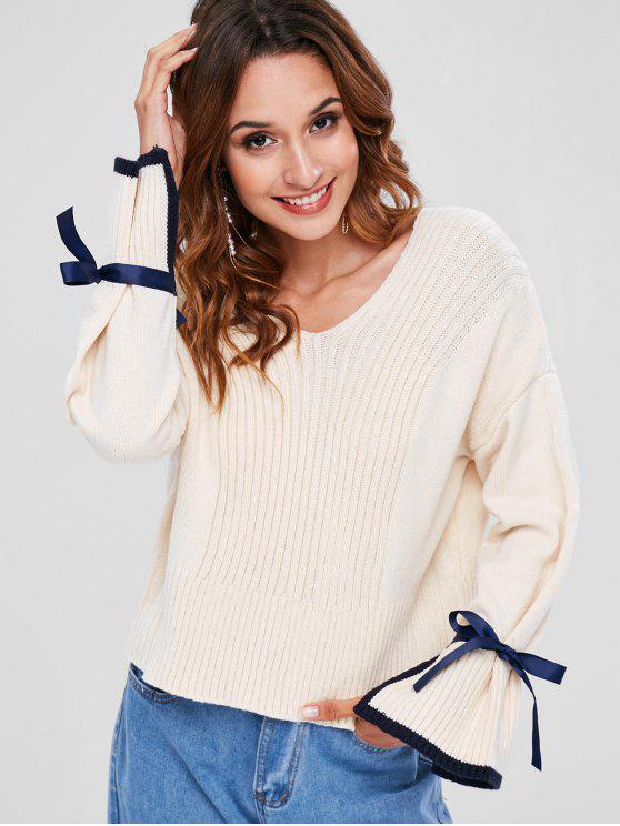 unique Slit Knotted V Neck Sweater - BEIGE M