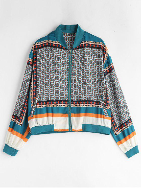 ladies Zip Up Printed Jacket - MULTI L