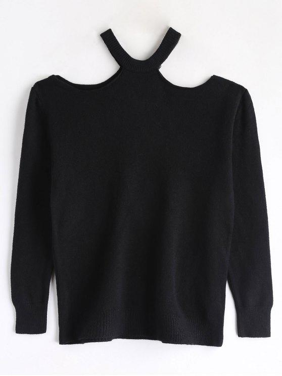 outfits Cutout Shoulder Jumper Sweater - BLACK ONE SIZE
