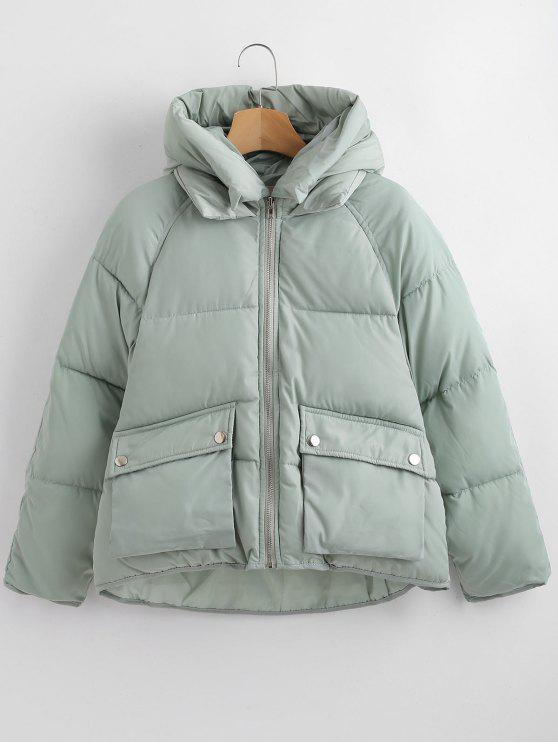 fashion Pockets Hooded Quilted Jacket - GREEN L