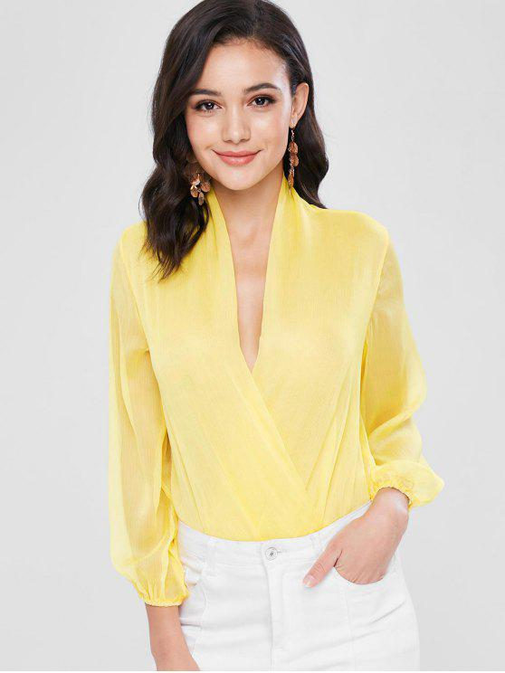 sale Long Bishop Sleeve Sheer Surplice Bodysuit - SUN YELLOW M
