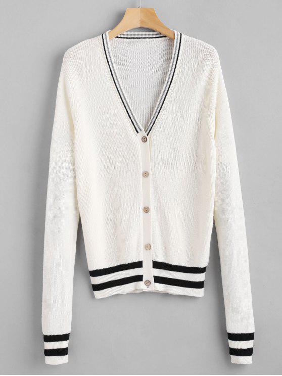 womens V Neck Classic Striped Cardigan - WHITE ONE SIZE