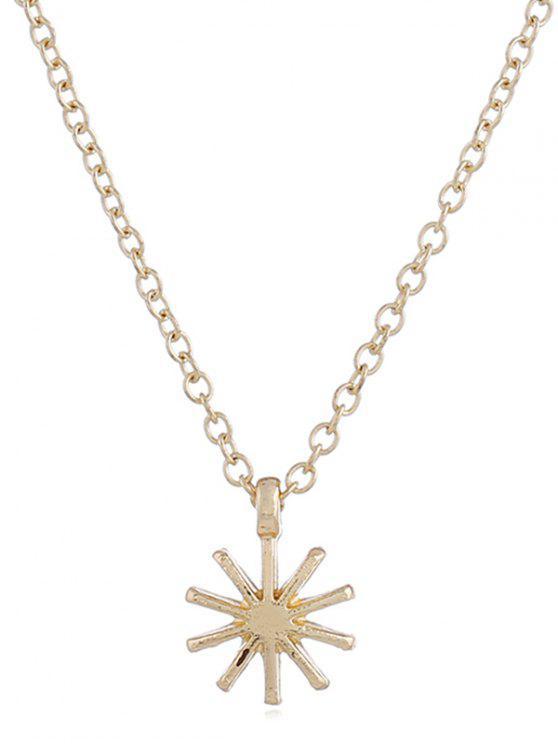 Blumenform Anhänger Kette Halskette - Gold