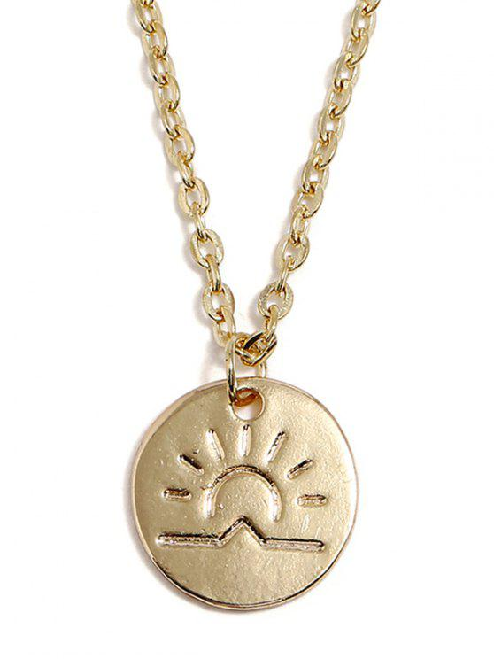 Collier pendentif rond en forme de soleil - Or