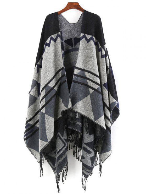 Écharpe à châle surdimensionnée à franges - Noir Taille Unique