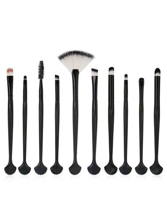womens 10Pcs Shell Shaped Eye Cosmetic Brush Set - BLACK
