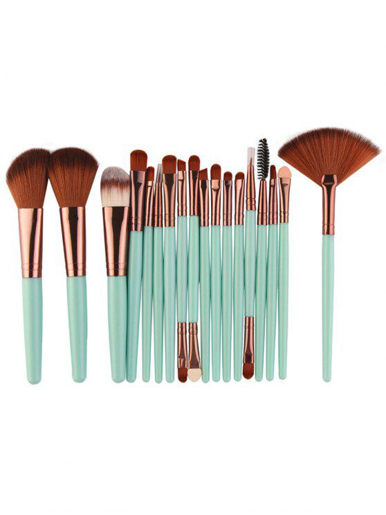 ladies Professional 18Pcs Ultra Soft Silky Cosmetic Brush Suit - MACAW BLUE GREEN