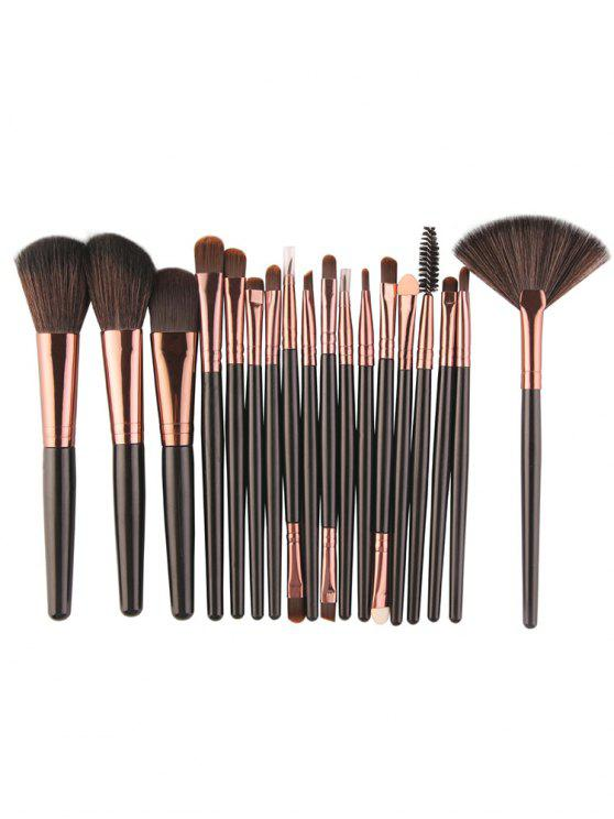 best Professional 18Pcs Ultra Soft Silky Cosmetic Brush Suit - BLACK