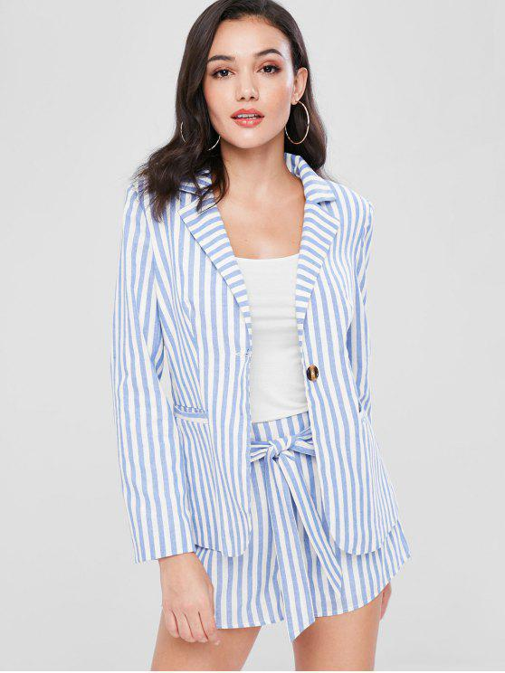 new ZAFUL Striped Blazer and Belted Shorts Set - PASTEL BLUE L