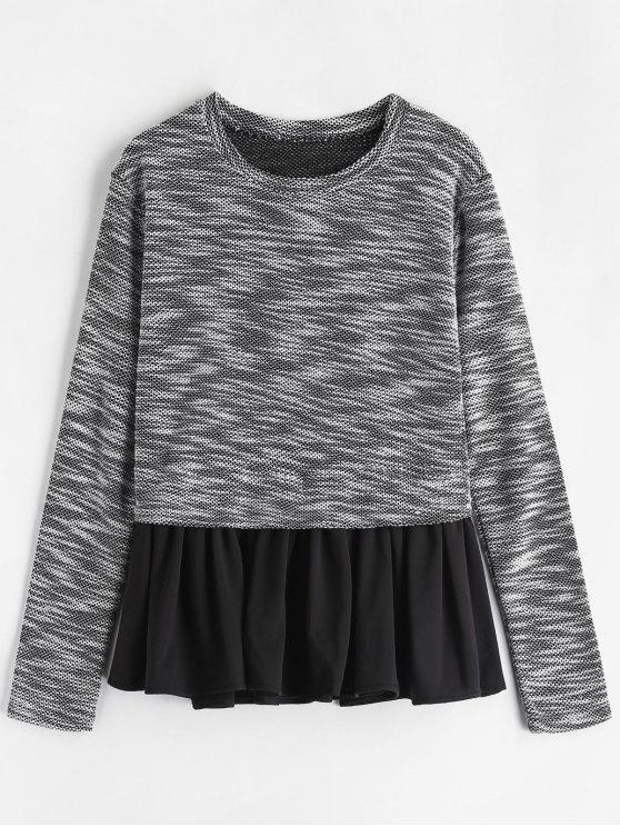 fashion Peplum Fish Scale Tweed Long Sleeve Tee - BLACK M