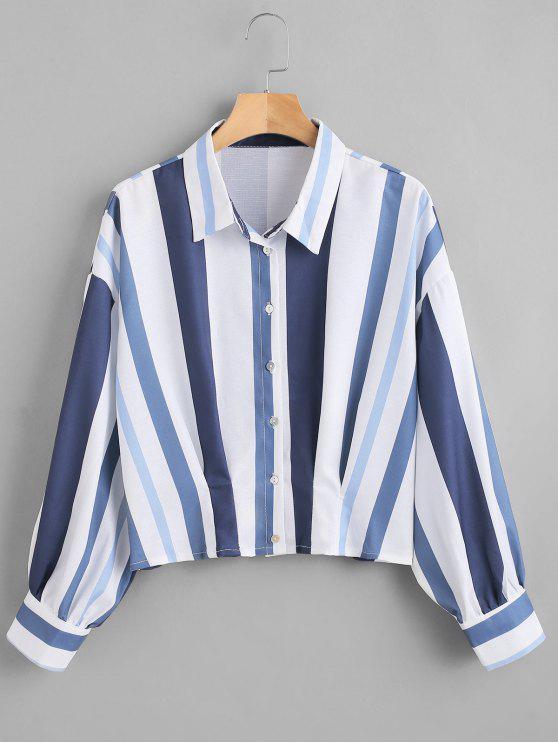 Camisa a rayas con hombros caídos - Multicolor L