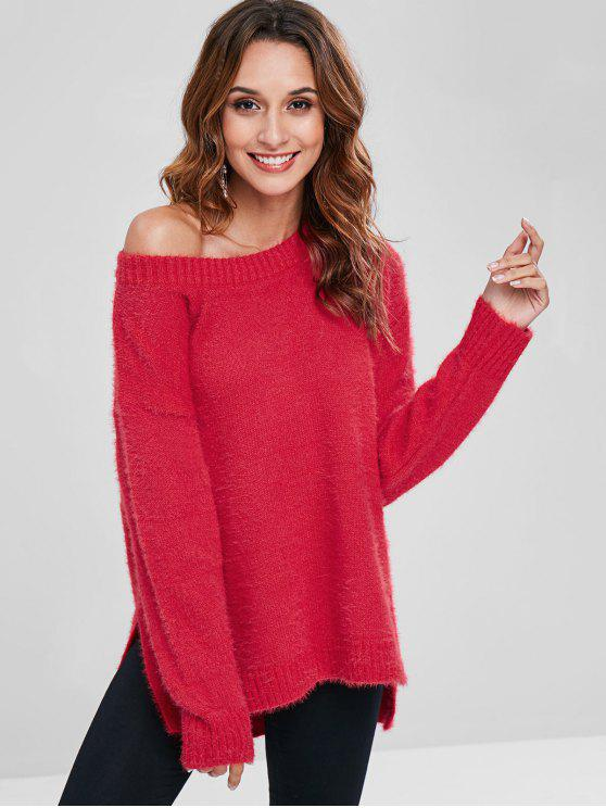 women Fuzzy High Low Slit Tunic Sweater - LOVE RED ONE SIZE