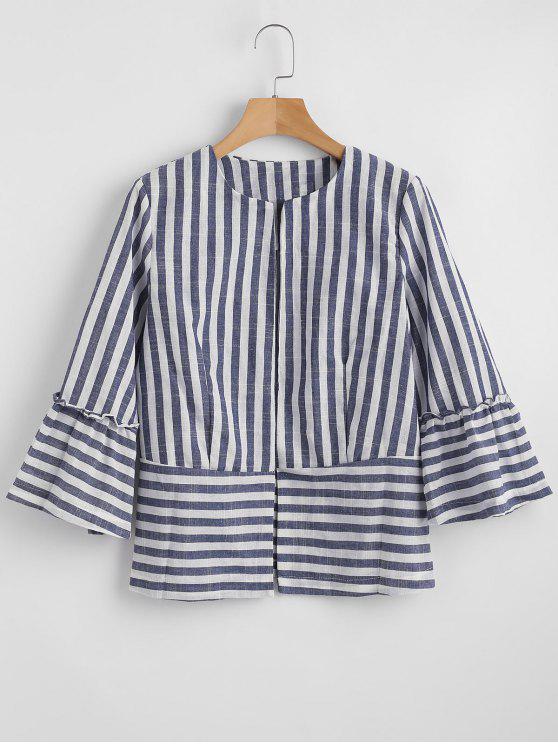 trendy Stripes Open Front Jacket - GRAY S
