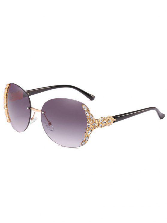 Óculos de sol rimless embutidos strass vintage - Turquesa Cinza
