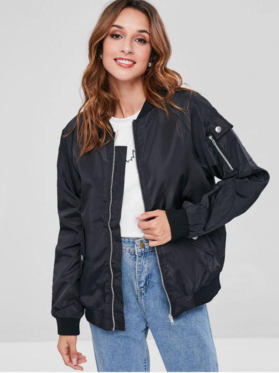 womens Ribbed Trim Bomber Jackets - BLACK XL
