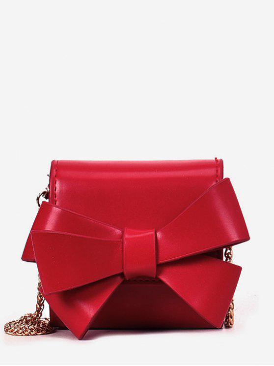 Cadeia Sólida Bow Crossbody Bag - Vermelho