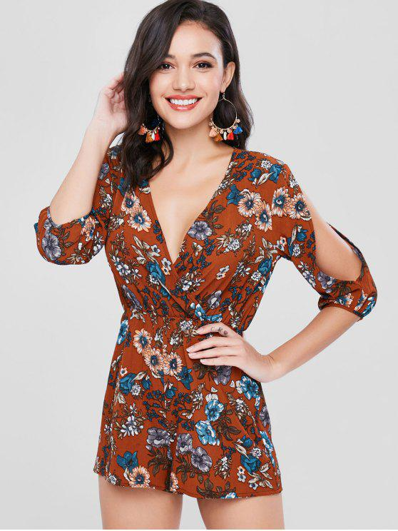 shops ZAFUL Split Sleeve Floral Romper - BROWN L
