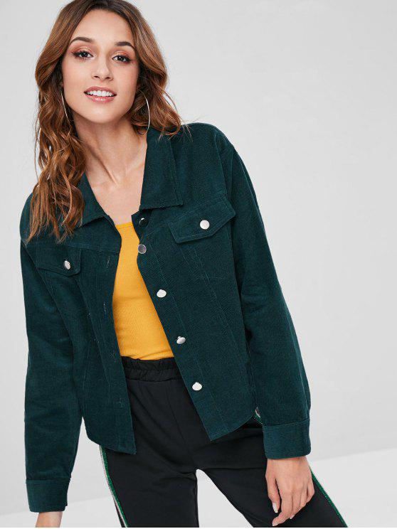 buy ZAFUL Button Front Corduroy Jacket - MEDIUM SEA GREEN S