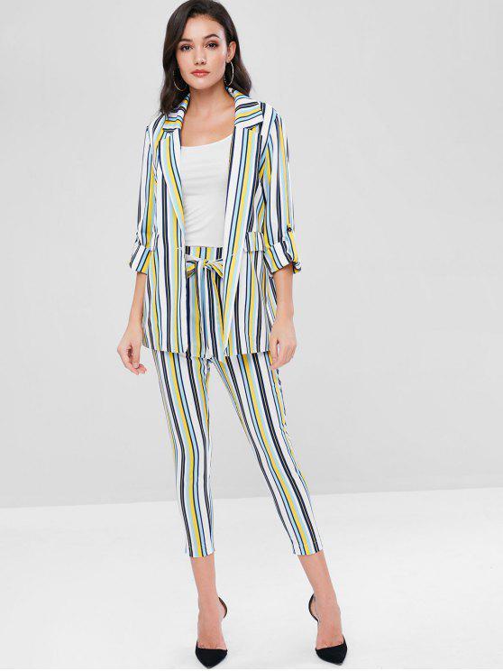 womens ZAFUL Striped Blazer and Belted Pants Set - MULTI M