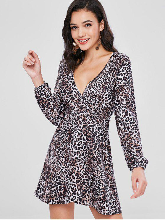 fashion Surplice Long Sleeves Leopard Print Dress - LEOPARD S