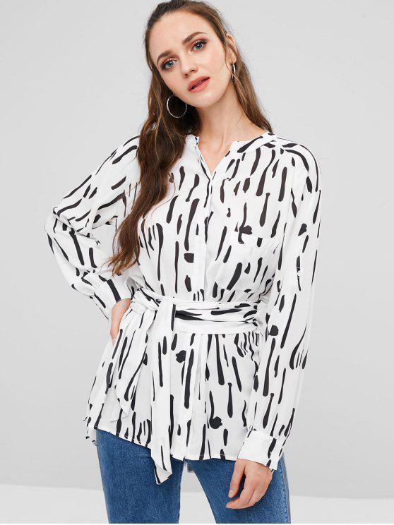 sale ZAFUL Tie Belt Striped Flowy Chiffon Shirt - WHITE M