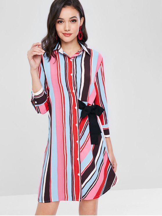 shops ZAFUL Knotted Stripes Shirt Dress - MULTI S