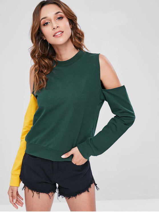 shops ZAFUL Two Tone Cold Shoulder Sweatshirt - DEEP GREEN M