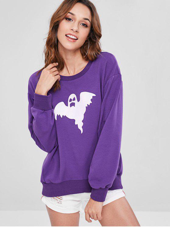 ZAFUL Ghost Graphic Sweatshirt de gran tamaño - Flor de Lirio Morado M