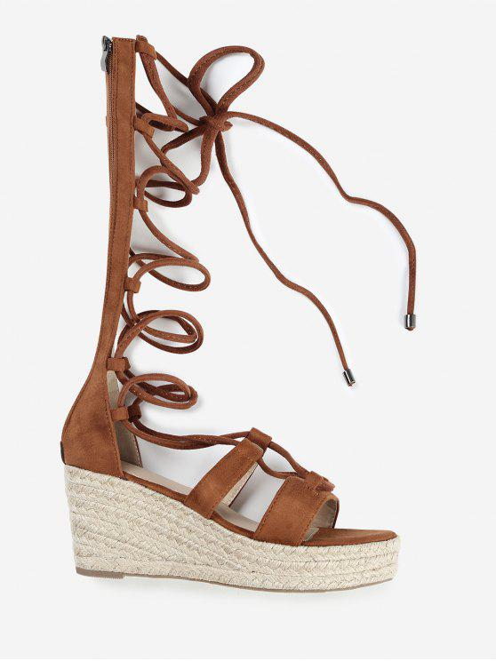ladies ZAFUL Strappy Gladiator Mid Calf Espadrille Sandals - BROWN 37