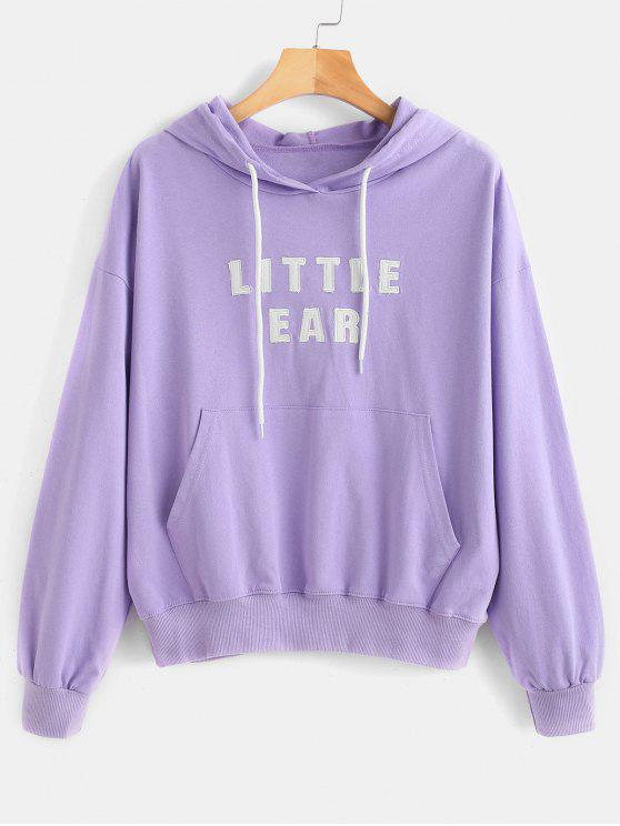 fashion Kangaroo Pocket Embroidered Hoodie - LAVENDER BLUE ONE SIZE