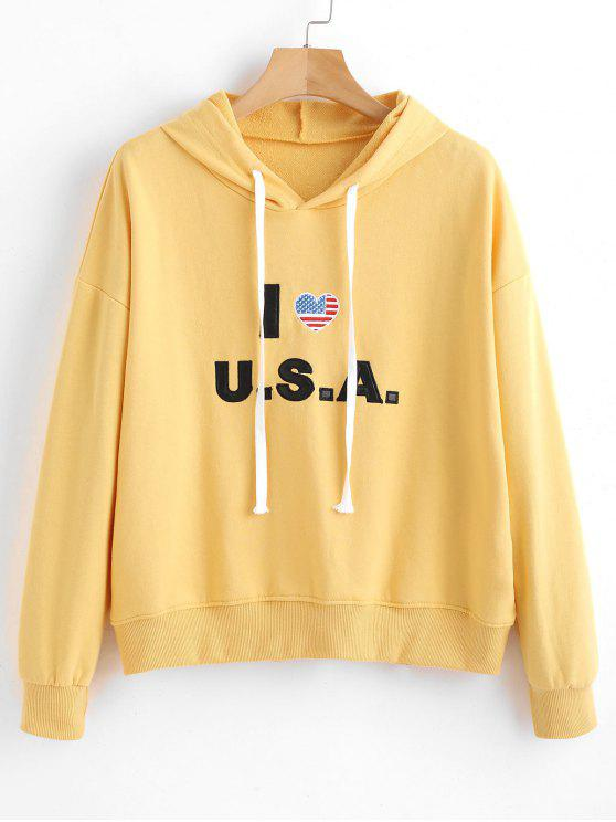 online Cotton Graphic Hoodie - CORN YELLOW ONE SIZE