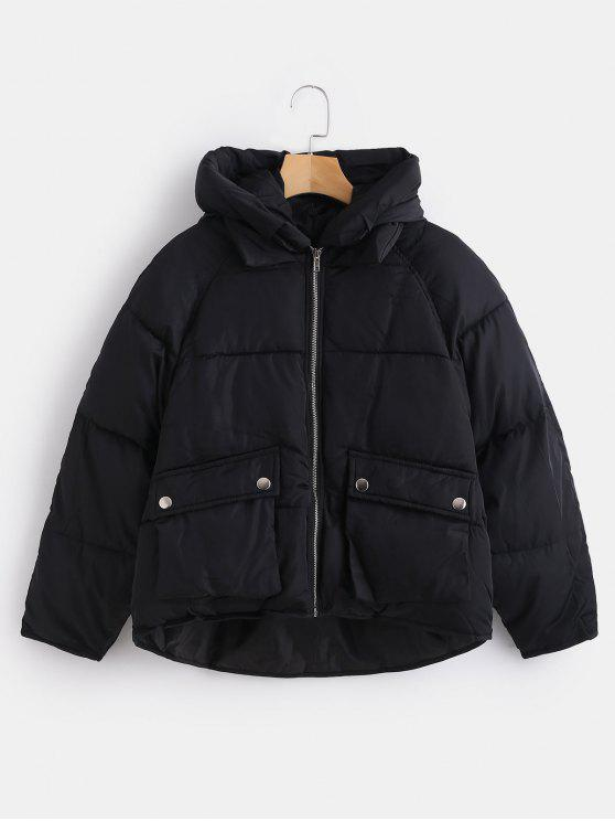 shop Pockets Hooded Quilted Jacket - BLACK XL