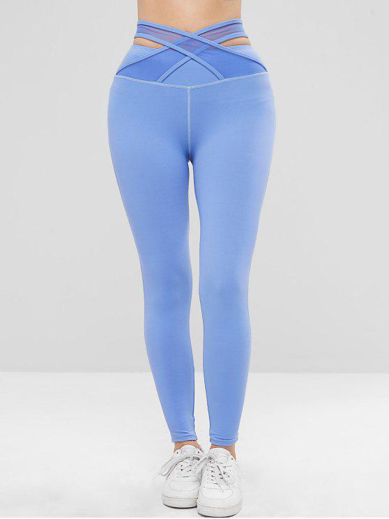 Zaful cintura alta criss cross esportes leggings - Azul L