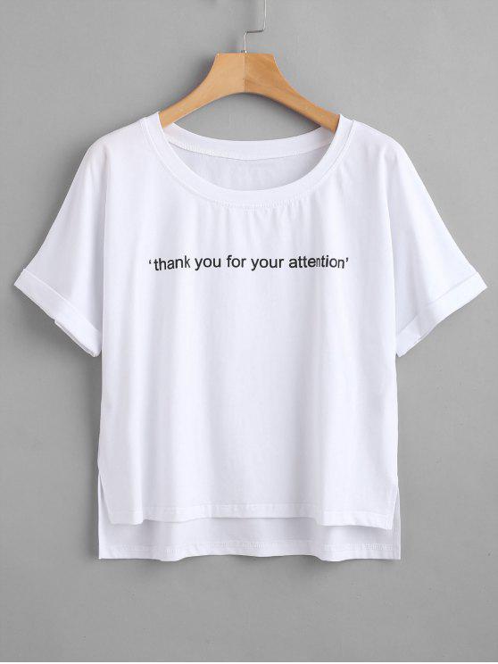 ZAFUL Text Graphic Crewneck T-Shirt - Weiß L