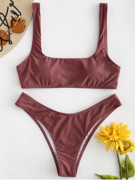 ZAFUL Conjunto de bikini de cuello cuadrado con tanque - Rosa Finch M
