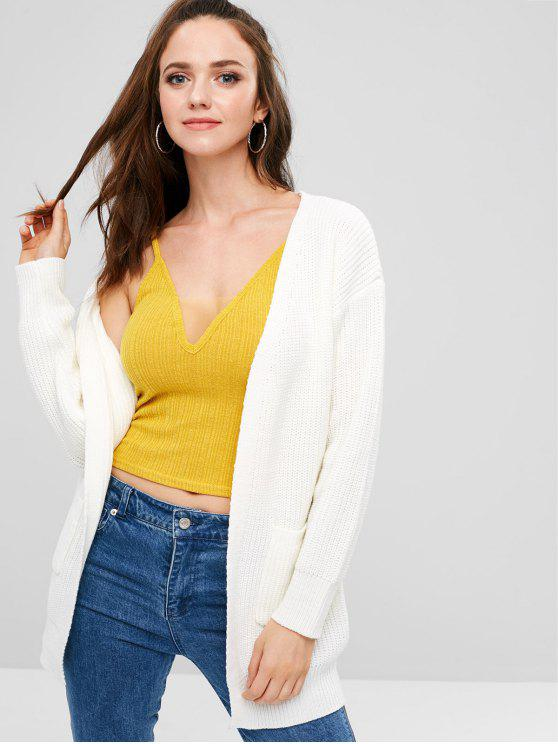 outfit ZAFUL Pockets Open Front Cardigan - WHITE ONE SIZE