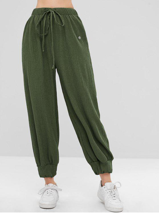 hot ZAFUL Drawstring Ribbed Jogger Pants - FERN GREEN L
