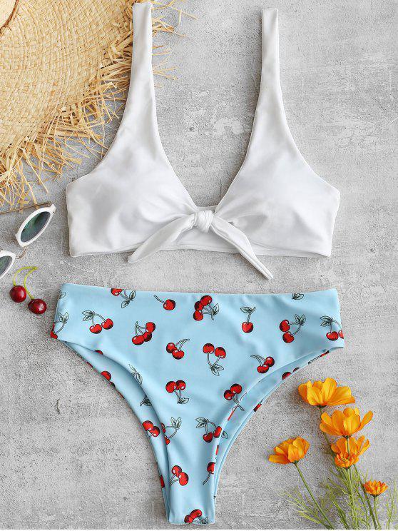 Conjunto de bikini de corte alto Cherry Knot - Celeste Ligero S