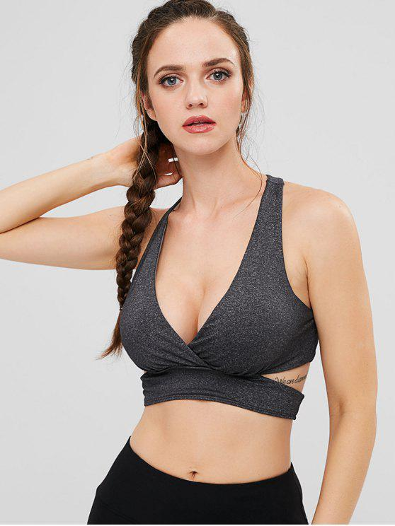 outfits ZAFUL Heather Cutout Sports Bra - DARK GRAY S