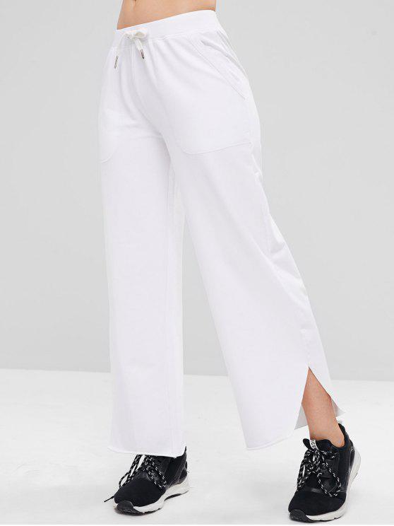 lady ZAFUL Raw Hem Wide Leg Sports Sweatpants - WHITE M