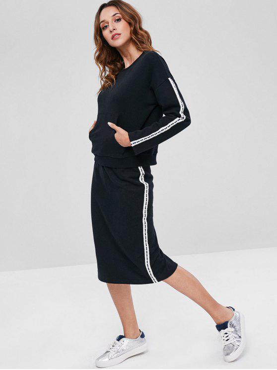 ZAFUL Contraste Side Sweatshirt e Lápis Saia Set - Preto XL