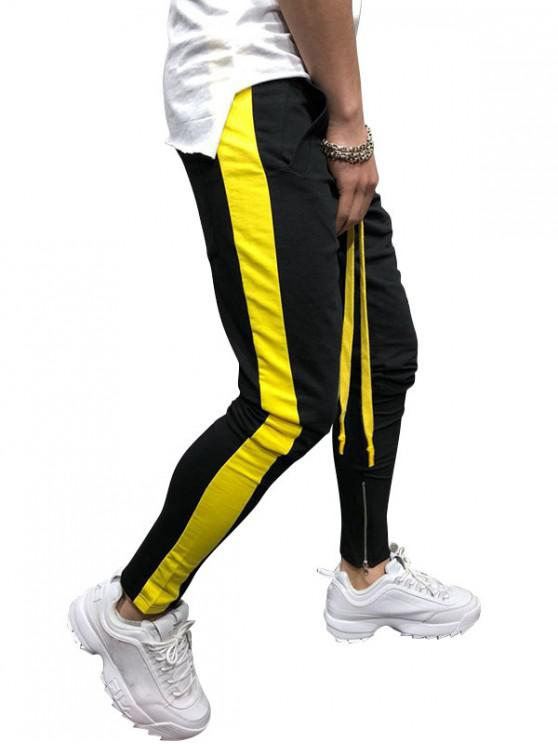 Pantalones deportivos de contraste a rayas laterales - Negro XL