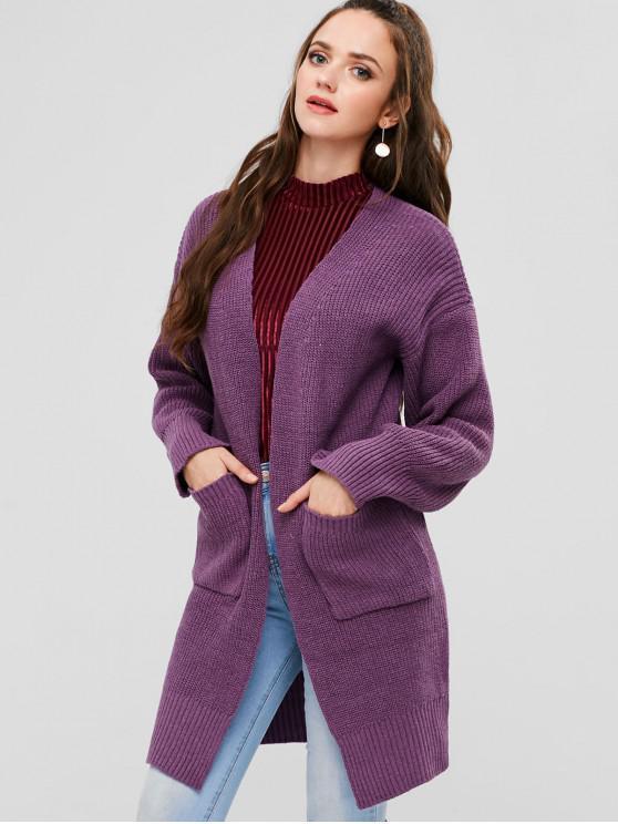 trendy Side Slit Long Cardigan - VIOLA PURPLE ONE SIZE