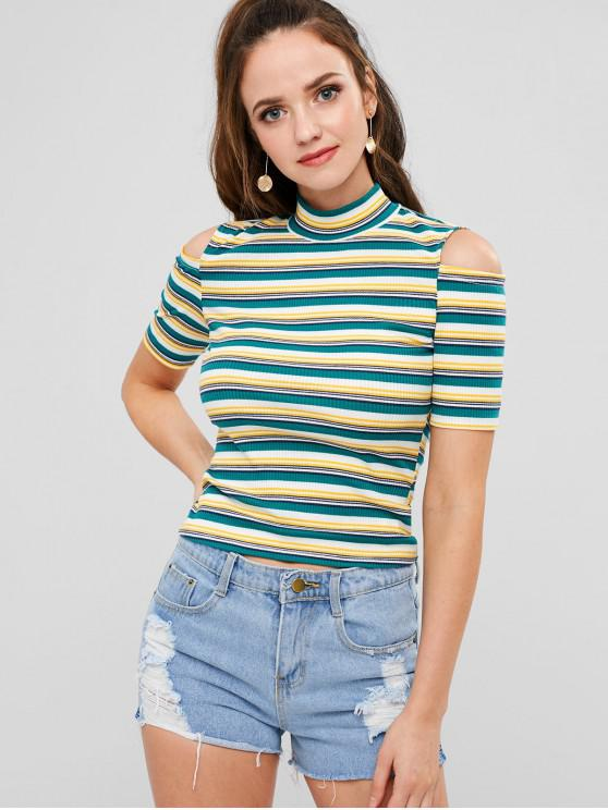 womens ZAFUL Cut Out Shoulder Striped Ribbed Mock Neck Tee - MULTI L
