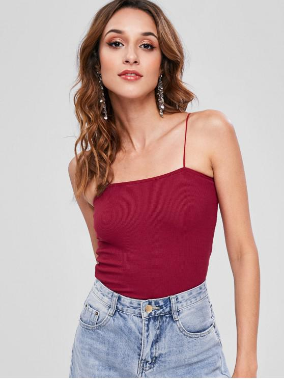 edf41ed0f 31% OFF  2019 Skinny Ribbed Cropped Cami Top In RED WINE