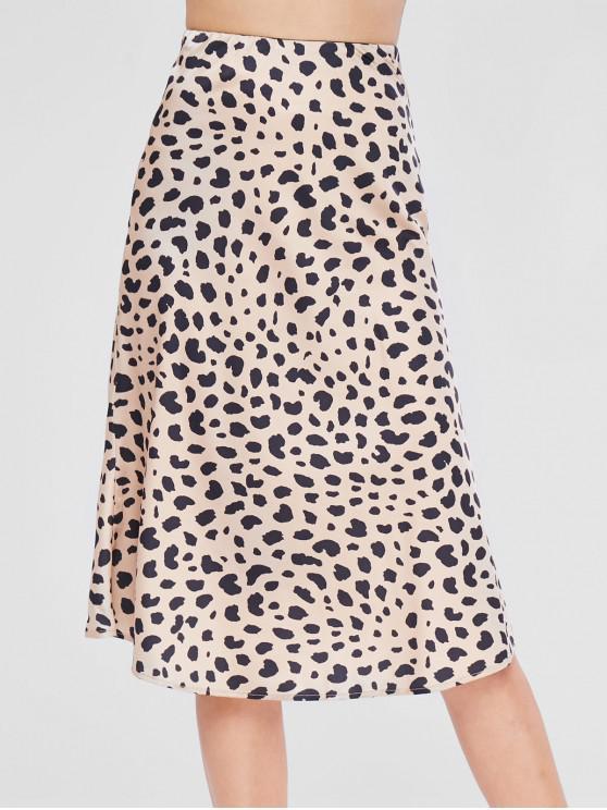 ladies High Waist Leopard Skirt - LEOPARD M