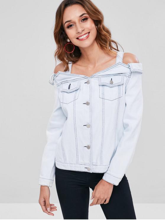 fashion Bleached Open Shoulder Denim Jacket - WATER M