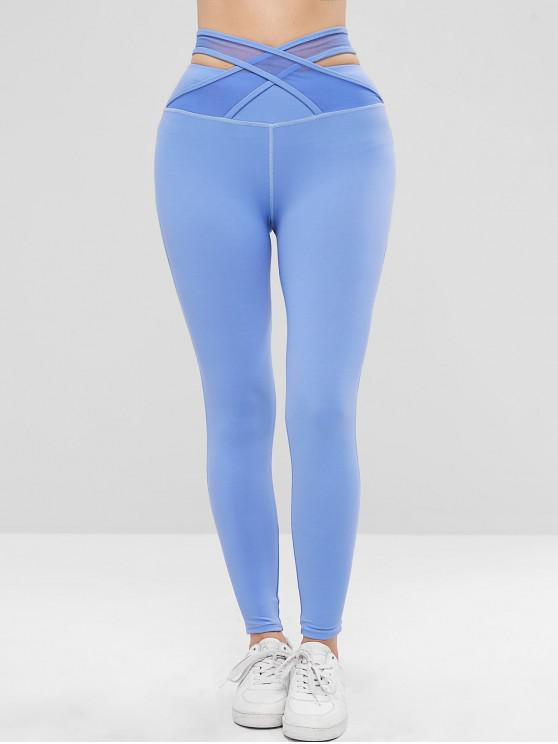 hot ZAFUL High Waisted Criss Cross Sports Leggings - BLUE S