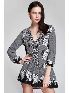 V Neck Striped Floral Flare Dress - Black L